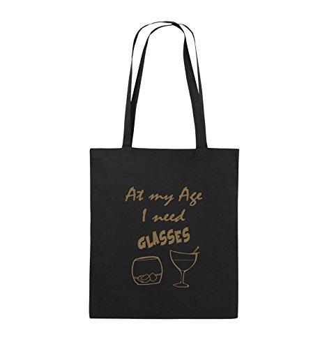 Comedy Bags - At my Age I need GLASSES - Jutebeutel - lange Henkel - 38x42cm - Farbe: Schwarz / Pink Schwarz / Hellbraun