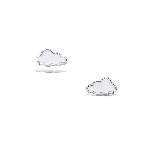 -Ohrringe aus Sterling-Silber 925/000rhodiniert und Email–Cloud–Geschenkbeutel Velours inkl. (E-mail-verschluss)
