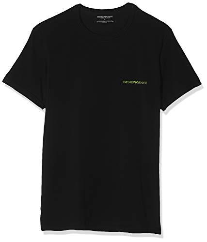 Emporio Armani Underwear Herren 2 Pack T Shirt Multipack Core Logoband Businesshemd, Schwarz (Nero/Nero 07320), X-Large (Herstellergröße:XL) (2er Pack)