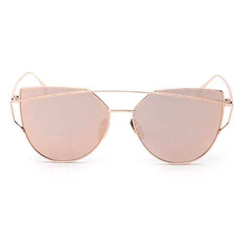 Damen Herren Klassisch Sonnenbrille,Ronamick Clear Lens Gläser Metall Spektakel Rahmen Brillen Mädchen (Rose Gold)
