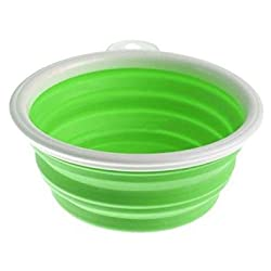 White frame green : TOOGOO(R) Pet Dog Cat Folding Dish Bowl Collapsible Travel Portable Water Feeding Feeder, Green