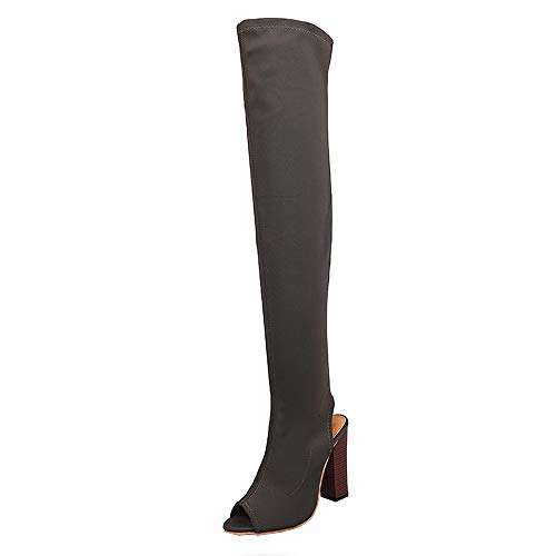 Overknee Stiefel Damen,Elecenty Peep-Toe Damenschuhe Frauen Strecken Stiefeletten Hohe Boots High Heels Blockabsatz Elegante Schuhe Faux Peep Toe