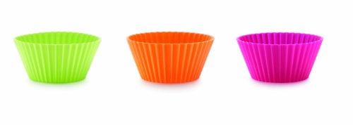 Lékué Classic - Pirottini per muffin, 7 cm, set di 12, colore magenta/arancione/verde