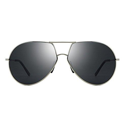 Yiph-Sunglass Sonnenbrillen Mode Männer Polarisierte Sonnenbrille Marke Fahren Pilot Stil männlich Sonnenbrille Legierung Eyewear Vintage Fahrer Angeln (Color : Silver)