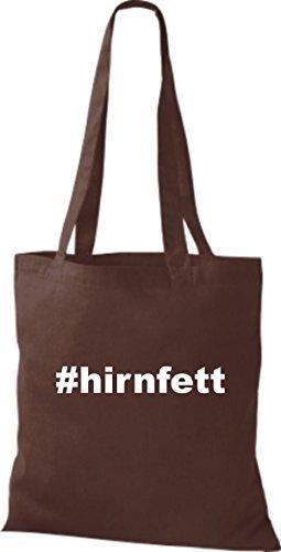 shirtstown Borsa di stoffa hashtag # hirnfett Marrone