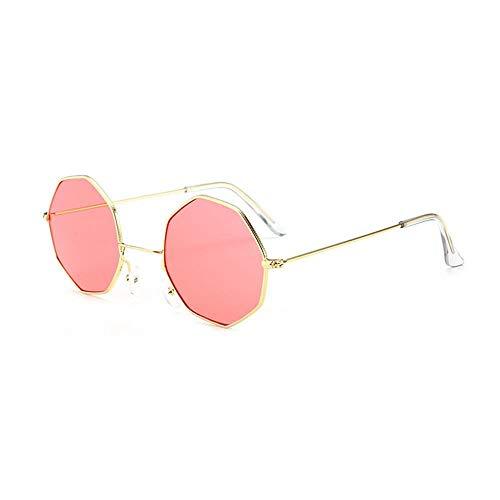 ZHANGNING0706 SonnenbrillenMetallkleine Sonnenbrille Polygonaler Rahmen Transparente Linse Herren Hexagon Sonnenbrille Partygeschenke, C