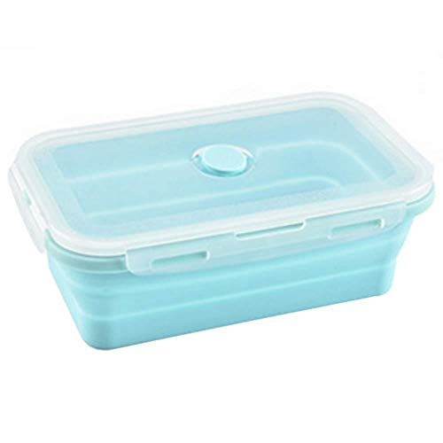 DYTJ-Lunchbox Bento Box Brotdose Collapsible Bento Box Picnic Lunchbox Food Case Food Storage Made Of Food Grade Silicone Material Environmental-Friendly Durable(1200Ml,Pink),Blue,500Ml Bento Box Case