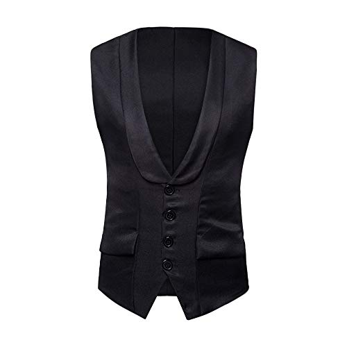 Formale Tuxedo Jacket (KPILP Herren Herbst Winter Formal Business Arbeit Tuxedo Anzug Ärmellos Weste Grundlegende Jacke Top Mantel(A-schwarz, M))