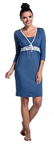 Zeta Ville - Damen Umstands Still-Nachthemd Spitzen details Knopfleiste - 255c Blau Grau