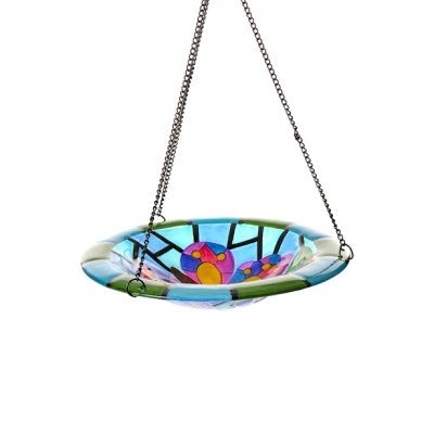Stained Glass Hanging Bird Feeder Bath from Direct Global Trading