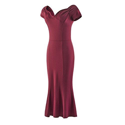LUOUSE Damen 50er Elegant Stretch Kleider Cocktailkleid Bleistiftkleid AbendKleid Vintage Kleid A1701-WineRed