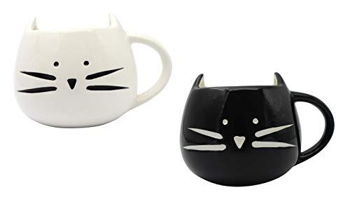Monicaxin 2 pz deliziosa tazza di ceramica a forma di grazioso gatto bianchi e neri per caffè e latte tazza regalo perfetta per natale e compleanno tazza di ceramica 300ml.(cat/it)