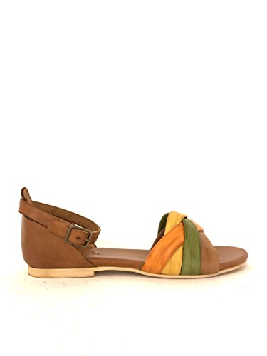 Sandali in pelle bianco 6922 treccia colorata tacco basso MainApps Cuoio