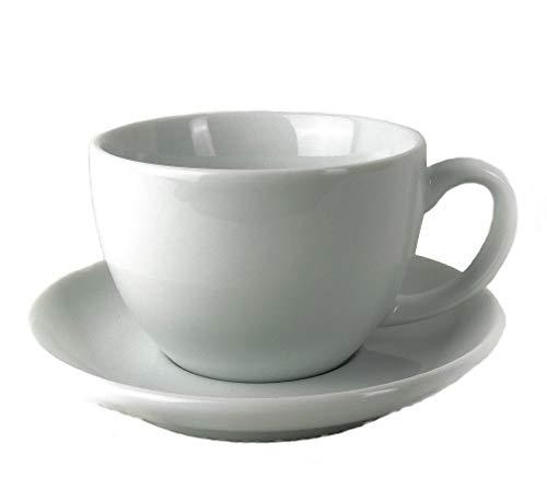 Moka Consorten Italienische Cappuccino-Tasse »Verona Open« weiß mit großem Henkel (max. 180 ml), handgemacht (6 Tassen & Untertassen) / Made in Italy