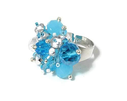 Ring Fingerring Damenring Perlenring hellblau blau Glasperlenring handgefädelt Glasperlen Glasschliffperlen verstellbar