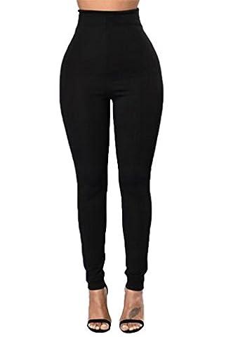 YiLianDa Femme Pantalons Sexy Taille Haute Pencil Slim Legging Skinny Stretch Crayon Pants Noir XL