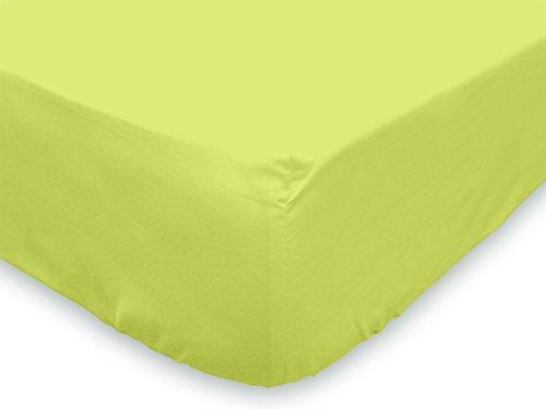 Soleil d'Ocre 614821 Drap Housse coton 57 Fils Vert 160 x 200 cm