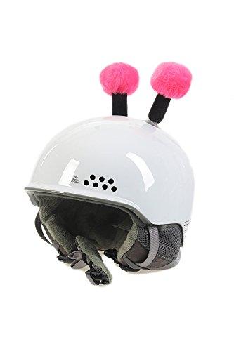 Crazy Ears Helm-Accessoires Biene Teddy Maus Katze. Ski-Ohren geeignet für Skihelm Motorradhelm Fahrradhelm und vieles mehr. Helm Dekoration für Kinder und Erwachsene, CrazyEars:Schwarz/Pinke Fühler
