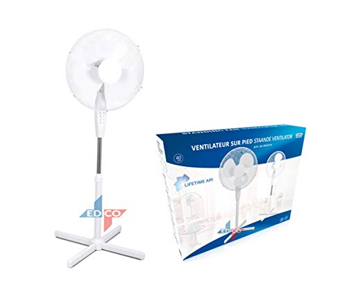 Lifetime-Air Schwenk Ventilator Standventilator 40W, 40 cm Durchmesser, 125 cm hoch, oszillierend, 3 Geschwindigkeitsstufen, Neigungswinkel verstellbar. - Home-air