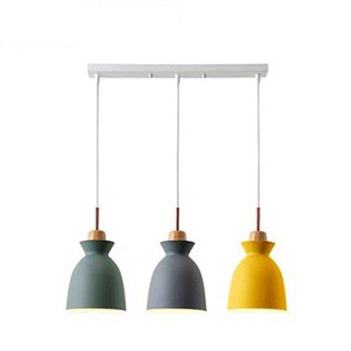 Xdmgg Nordic Modernem Design Pendelleuchte Macaron Farbe Tassenform Dekorativen Lampen Holz und Metall Hängeleuchte Höhenverstellbar Hängelampe E27x3 für Esszimmer/Büro/cafe(Grau+Gelb+Grün 3-flammig)