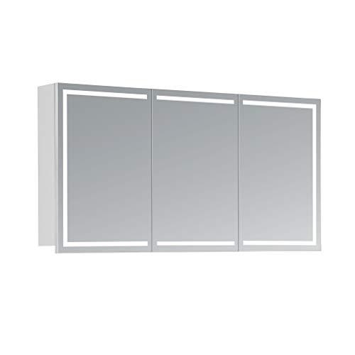 #HAPA Design Spiegelschrank Milano weiß mit LED Beleuchtung in Lichtfarbe 4000K, VDE Steckdose, Softclose Funktion und verstellbaren Glas Ablagen. Komplett vormontiert. SGS geprüft. (120 x 60 x 14 cm)#