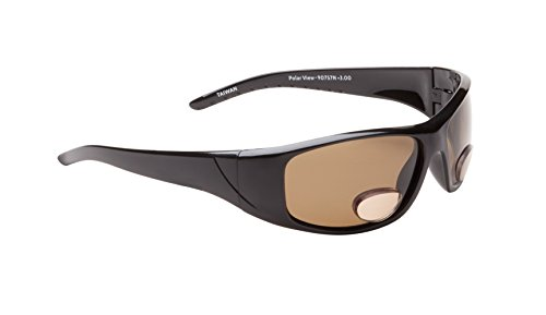 Fisherman Eyewear Polar View Polarized +3.00 Power Sunglass with Magnifier (Black Frame, Brown Lens)