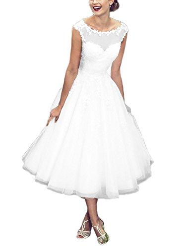 Brautkleider A Linie Hochzeitskleider Tüll Spitze Damen Kleid Wadenlang Weiß EUR58