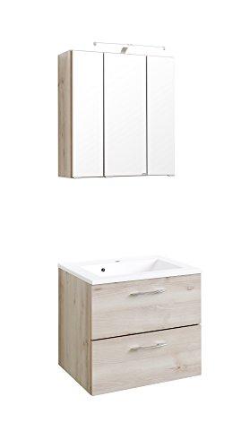 Wohnorama Waschtisch-Set 60 inkl LED Beleuchtung Portofino von Held Möbel Buche Iconic by (Portofino Bad)