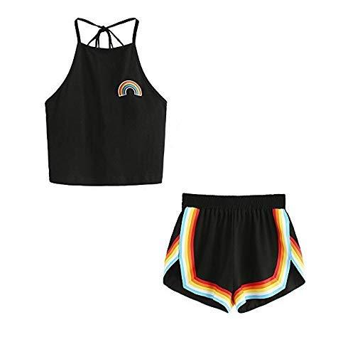 HAOGE Rainbow LGBT Flag Shirts 3D Digital Print Tank Top Fashion Vest for Women Camisole Tops & Short Pants Set