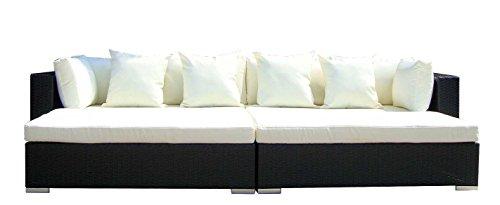 Baidani Gartenmöbel-Sets 10d00001.00001 Designer Rattan Lounge Paradise, 2 Sofas, Sitzauflage, Kissen, schwarz -