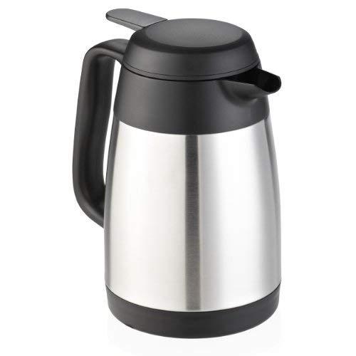Leifheit Style 0,6 L Isolierkanne, 100% dicht, Thermoskanne mit doppelwandigem Edelstahl-Isolierkörper, praktisches Öffnen und Schließen mit einer Hand, Kaffekanne, Teekanne, silber/schwarz