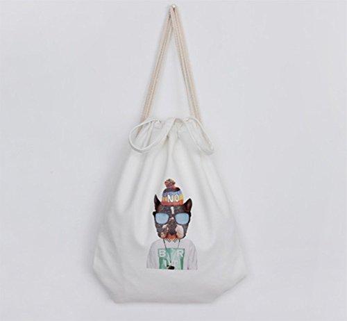 Hosaire 1x Carrying Tasche Rucksäcke Multifunktion Tiermuster Design Rucksack Canvas Backpack Damen Frauen Outdoor Daypacks Handtasche mit Seil Farbe#1