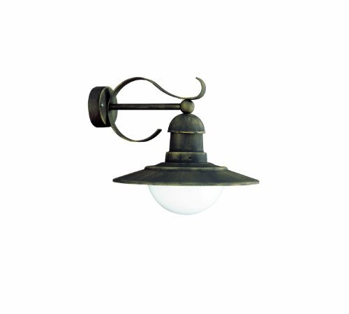 Massive Palermo Outdoor Wall Light Black and Gold Brushing (Includes 1 x 60 Watts E27 Bulb)