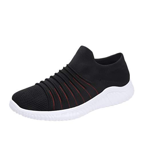 AIni Herren Schuhe Beiläufiges Mode 2019 Neuer Heißer Gewebte Atmungsaktive Einbeinige Faule Socken Schuhe Einfarbig Lässige Turnschuhe Freizeitschuhe Partyschuhe (43,Schwarz) -