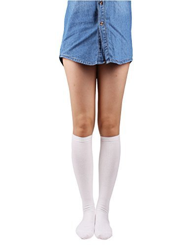 10STAR11 Women's Unique Cotton Knee Socks Onesize (Us Shoe Size 6-9) Ivory (Low Sock Microfiber Cut)