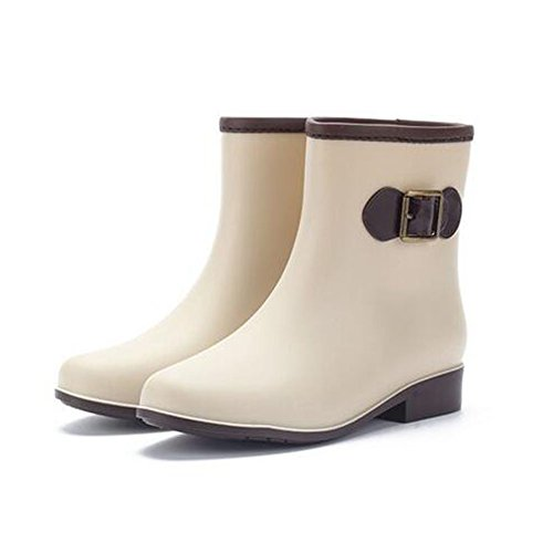 Minetom Mujer Casual Moda Botines De Lluvia Festival Botas De Agua Muy Ligera Impermeable Anti-deslizante Arco Zapatos Rain Boot Albaricoque EU 39