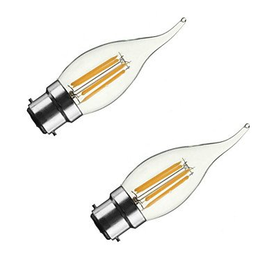 ONDENN 2pcs 3.5W 300-350 lm B22 E26/E27 Ampoules à Filament LED CA35 4 diodes électroluminescentes COB Intensité Réglable Blanc Chaud AC