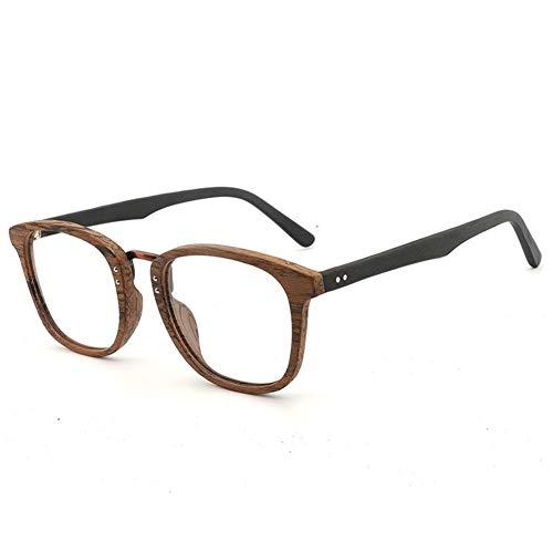 New Large Frame Holzrahmen Brillengestell Retro-Platte Brillengestell handgefertigte Mode flachen Rahmen Brille (Color : Brown Frame Black Legs)