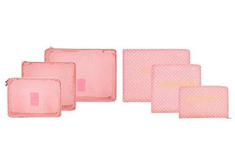 6/Set Wasserdicht Kleidung Aufbewahrungsbeutel Verpackung Cube Travel Gepäck Organizer Tasche Pink Pink point