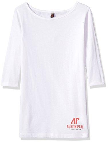 Austin Weißes T-shirt (Campus Merchandise Damen T-Shirt NCAA Austin Peay Shoulvisors 3/4 Sleeve Tee, 4X, Weiß)