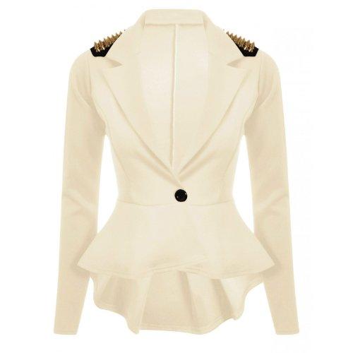 Nouveaux Femmes Grande Taille transitoire de veste de blazer femmes cloutés taille 36-52 Crème