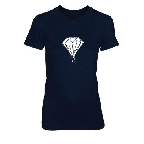 Dripping Diamond - Damen T-Shirt Dunkelblau