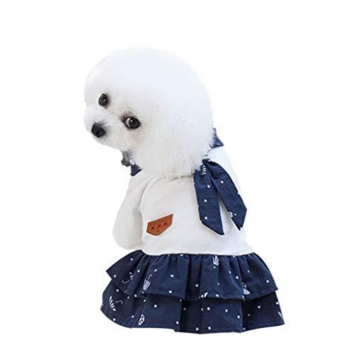 LOSVIP Haustier Sommer 2019,Stern Print Kleid Kleidung Katze Lace atmungsaktiv Kleid(Blau,L)