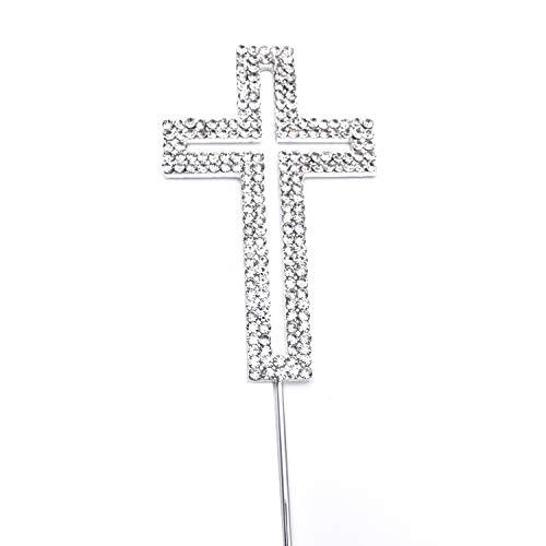 Words of Sparkles Kreuz-Kuchenaufsatz für Geburtstag, Riligious, Taufe, Kirchenzweihung, Party-Dekoration, Glitzer in Silber, Diamanten, Strass Design 1