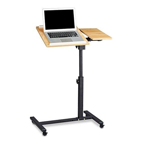 Relaxdays Laptoptisch höhenverstellbar HBT 95 x 60 x 40 cm Notebook Ständer auch für Linkshänder Sofatisch Beistelltisch mit bremsbaren Rollen mit Ablage für Maus mit 2 Stopp-Leisten, Eiche, gelb