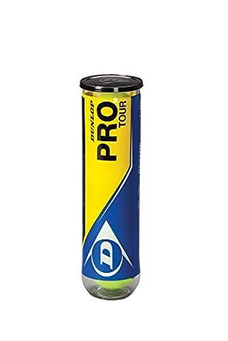 Dunlop 602174 balles de tennis pro tour de 4 balles de tennis jaune taille unique 602201