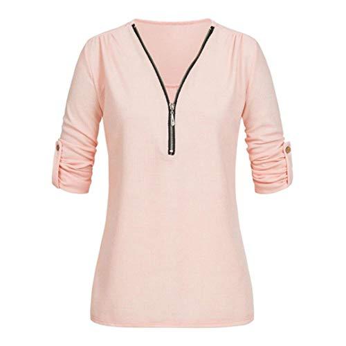 SEWORLD Damen Mode Freizeit Oberteile Bluse Herbst Einzigartig Frauen Strand Damenmode Lässige Tops Shirt Damen V-Ausschnitt Reißverschluss Lose T-Shirt Bluse Tee Top(Z-b-rot,EU-38/CN-S)