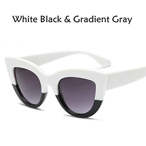CCGKWW Katzenauge Frauen Sonnenbrille Getönte Farblinse Männer Vintage Shaped Sun Glasses Weibliche Brillen Blaue Sonnenbrille Markendesigner
