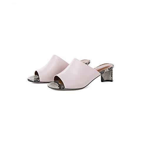 QYYDGGX High Heels Mode Frauen Pumpt Hochwertiges Echtes Leder Sandalen Muster Dekoration Sommer Prom Party Schuhe Frau 7 Rosa