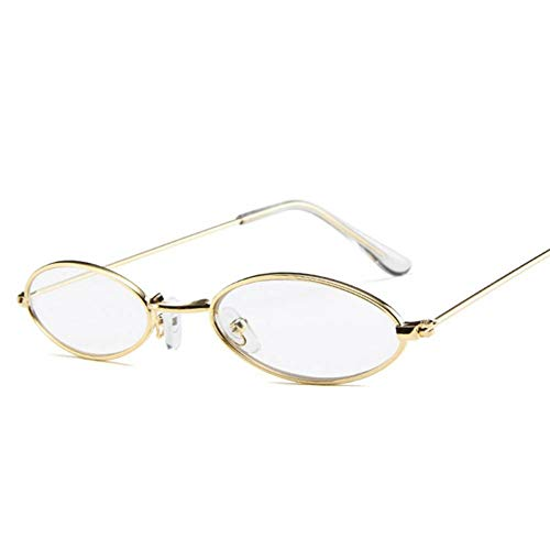 GAOHAITAO Small Oval Sunglasses Men Women Metal Frame Yellow Red Tiny Round Skinny Male Female Sun Glasses Uv400,Clear